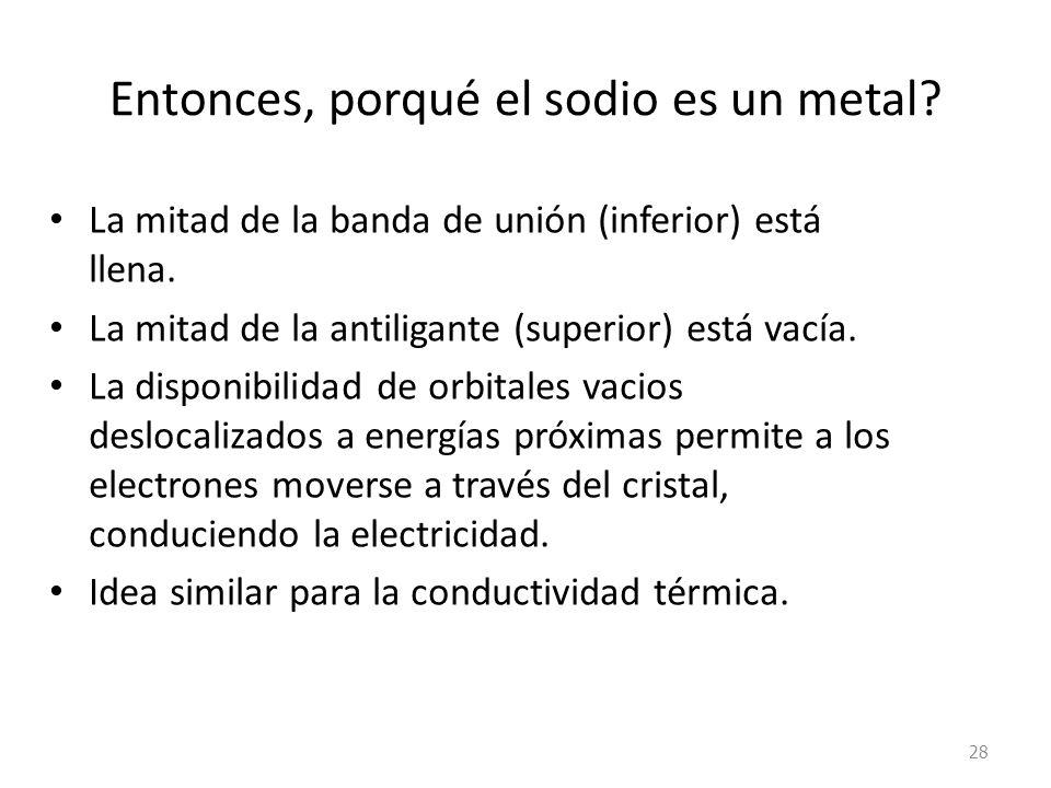 Entonces, porqué el sodio es un metal