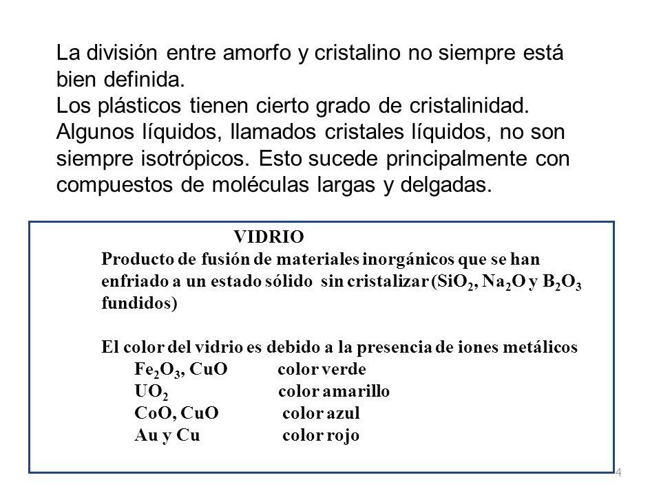 La división entre amorfo y cristalino no siempre está bien definida