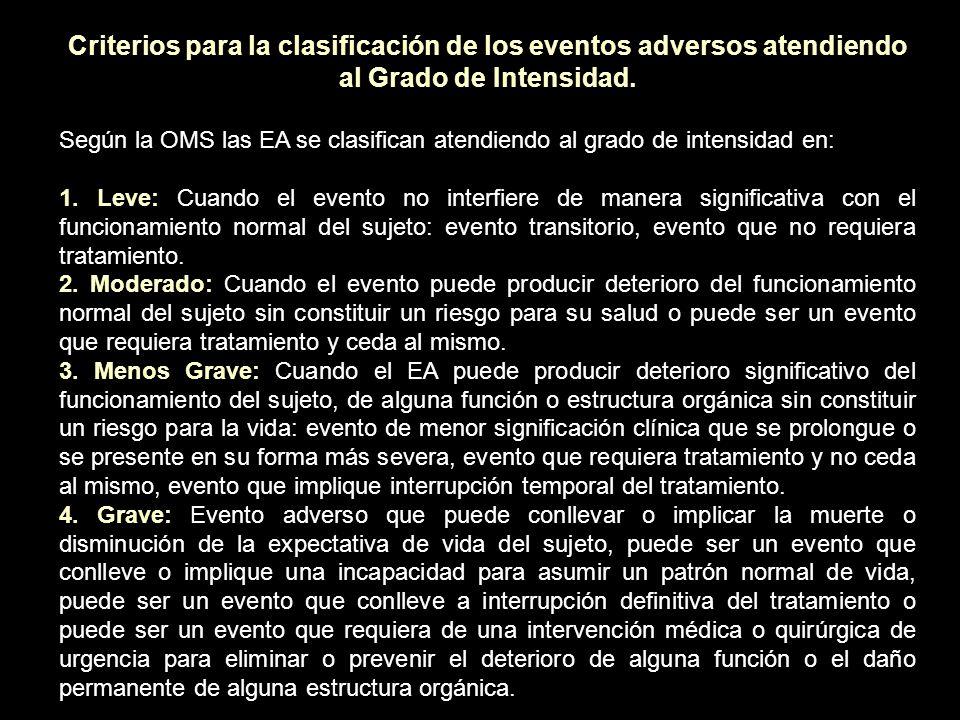 Criterios para la clasificación de los eventos adversos atendiendo