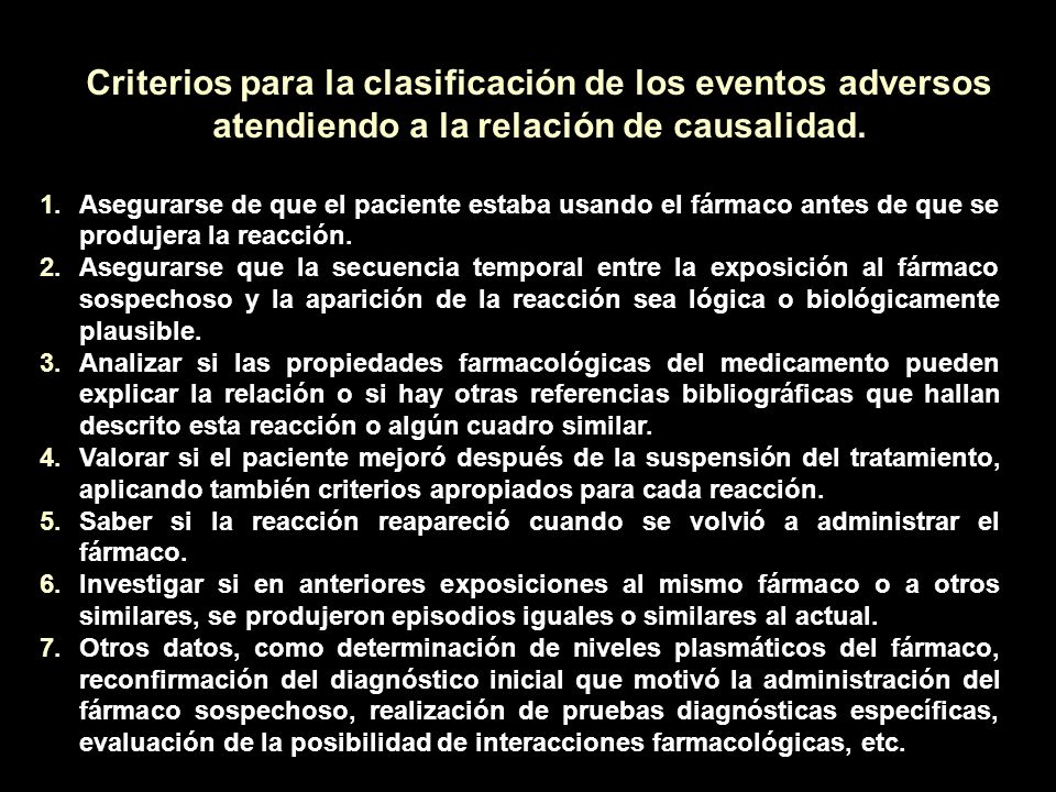 Criterios para la clasificación de los eventos adversos atendiendo a la relación de causalidad.