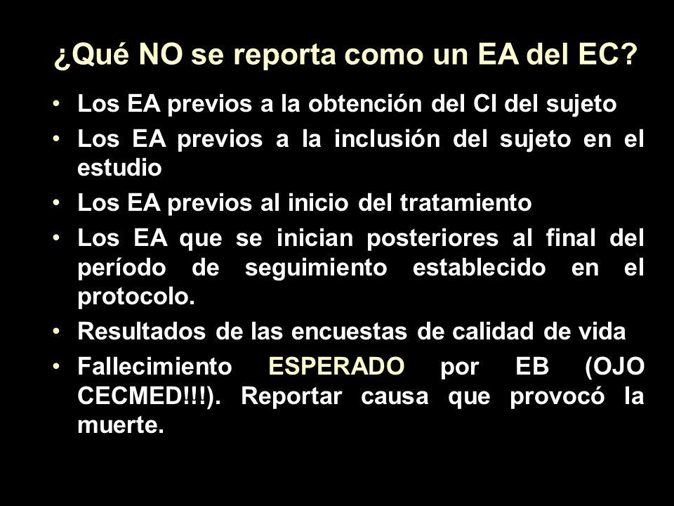 ¿Qué NO se reporta como un EA del EC