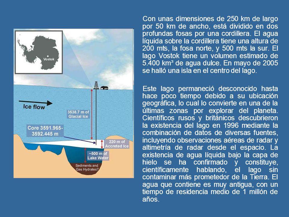 Con unas dimensiones de 250 km de largo por 50 km de ancho, está dividido en dos profundas fosas por una cordillera. El agua líquida sobre la cordillera tiene una altura de 200 mts, la fosa norte, y 500 mts la sur. El lago Vostok tiene un volumen estimado de 5.400 km³ de agua dulce. En mayo de 2005 se halló una isla en el centro del lago.