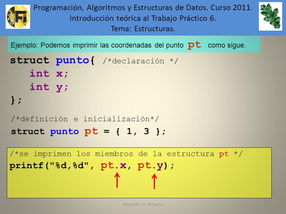 struct punto{ /*declaración */ int x; int y; };