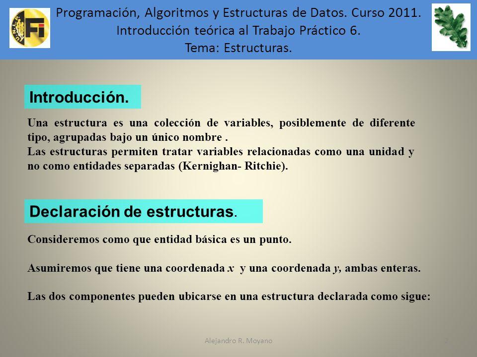 Declaración de estructuras.