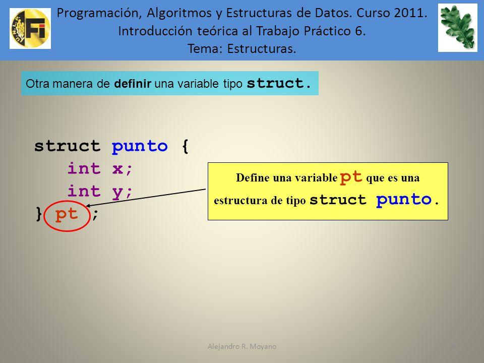 Define una variable pt que es una estructura de tipo struct punto.