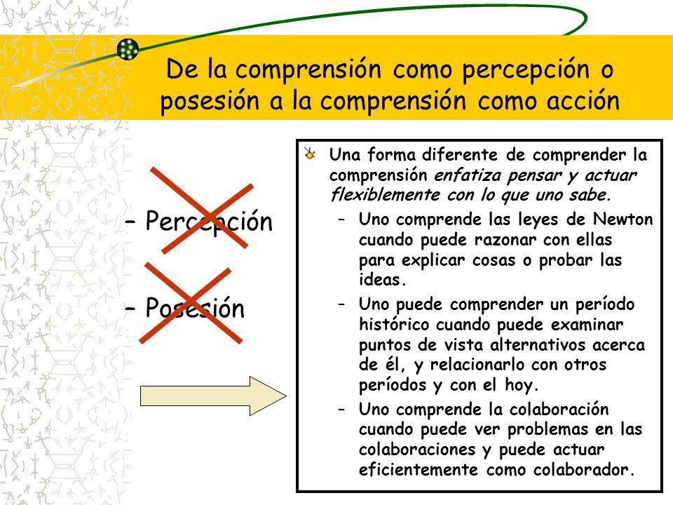 De la comprensión como percepción o posesión a la comprensión como acción