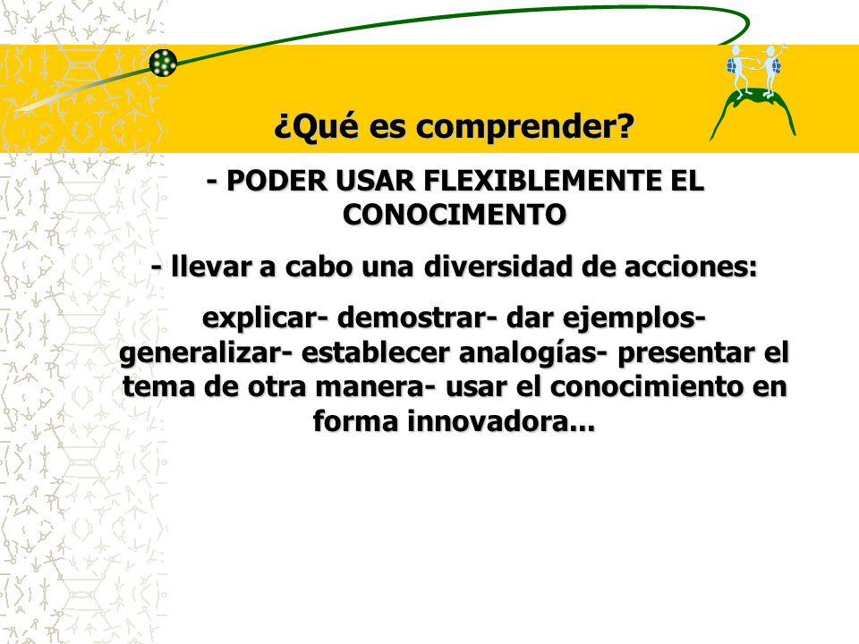 ¿Qué es comprender - PODER USAR FLEXIBLEMENTE EL CONOCIMENTO