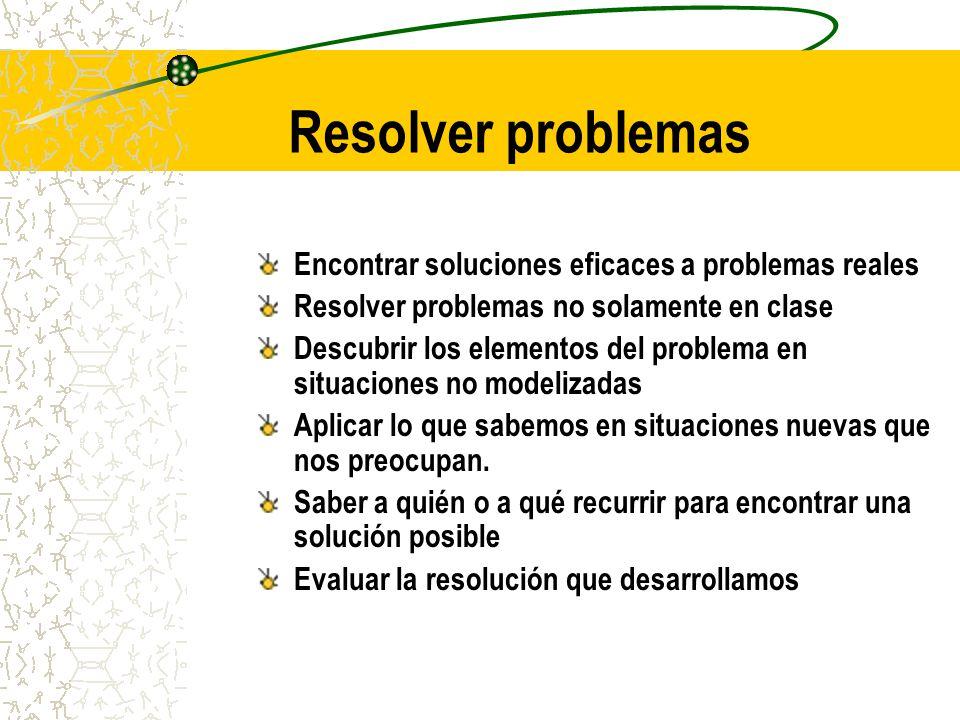 Resolver problemas Encontrar soluciones eficaces a problemas reales