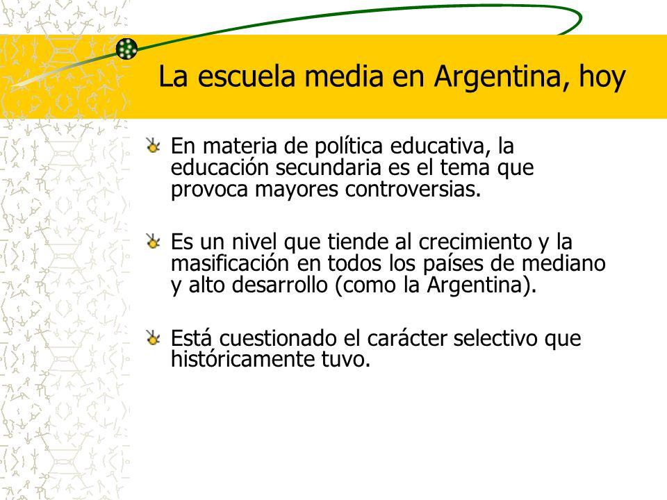La escuela media en Argentina, hoy