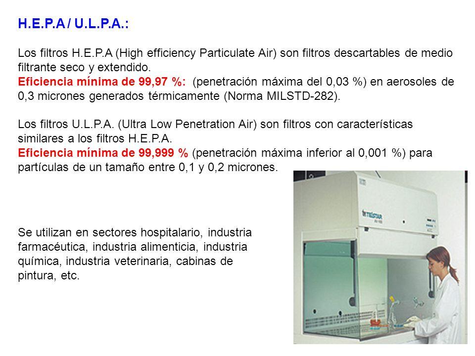 H.E.P.A / U.L.P.A.: Los filtros H.E.P.A (High efficiency Particulate Air) son filtros descartables de medio filtrante seco y extendido.