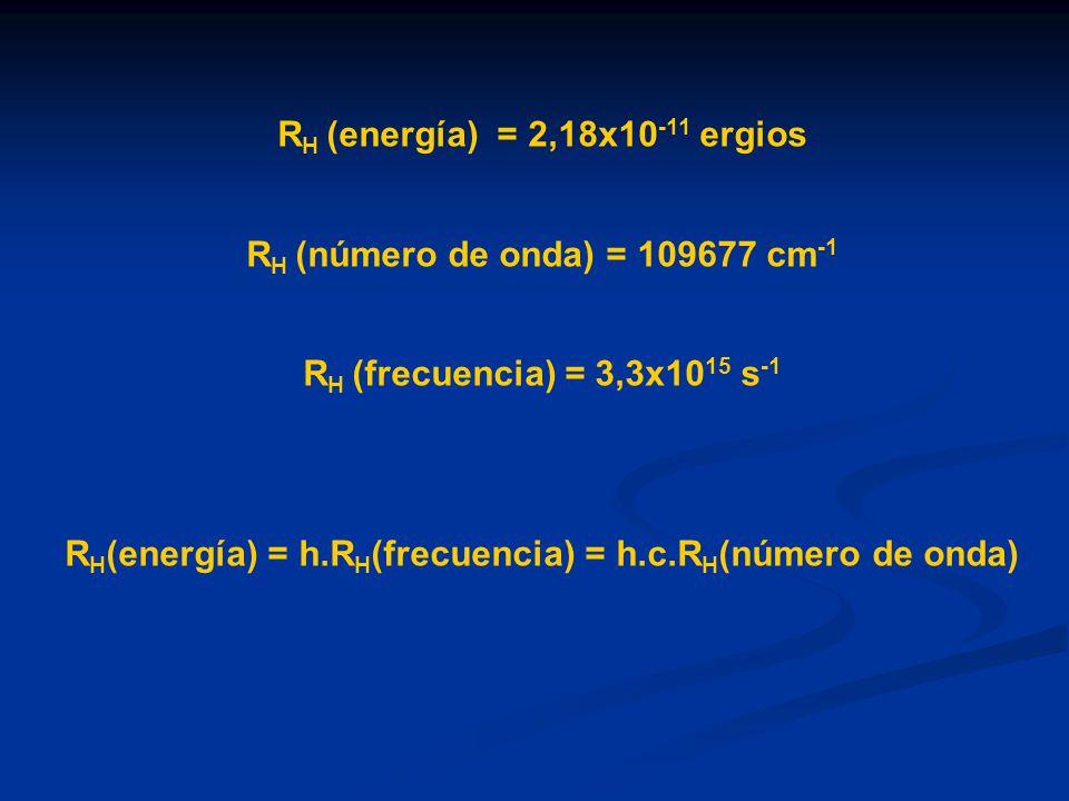 RH (energía) = 2,18x10-11 ergios