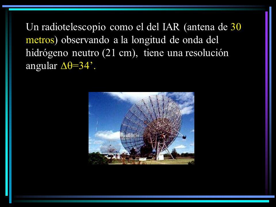 Un radiotelescopio como el del IAR (antena de 30 metros) observando a la longitud de onda del hidrógeno neutro (21 cm), tiene una resolución angular =34'.