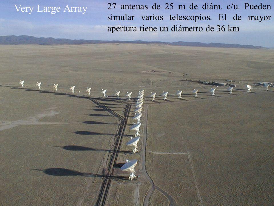 Very Large Array 27 antenas de 25 m de diám. c/u. Pueden simular varios telescopios. El de mayor apertura tiene un diámetro de 36 km.