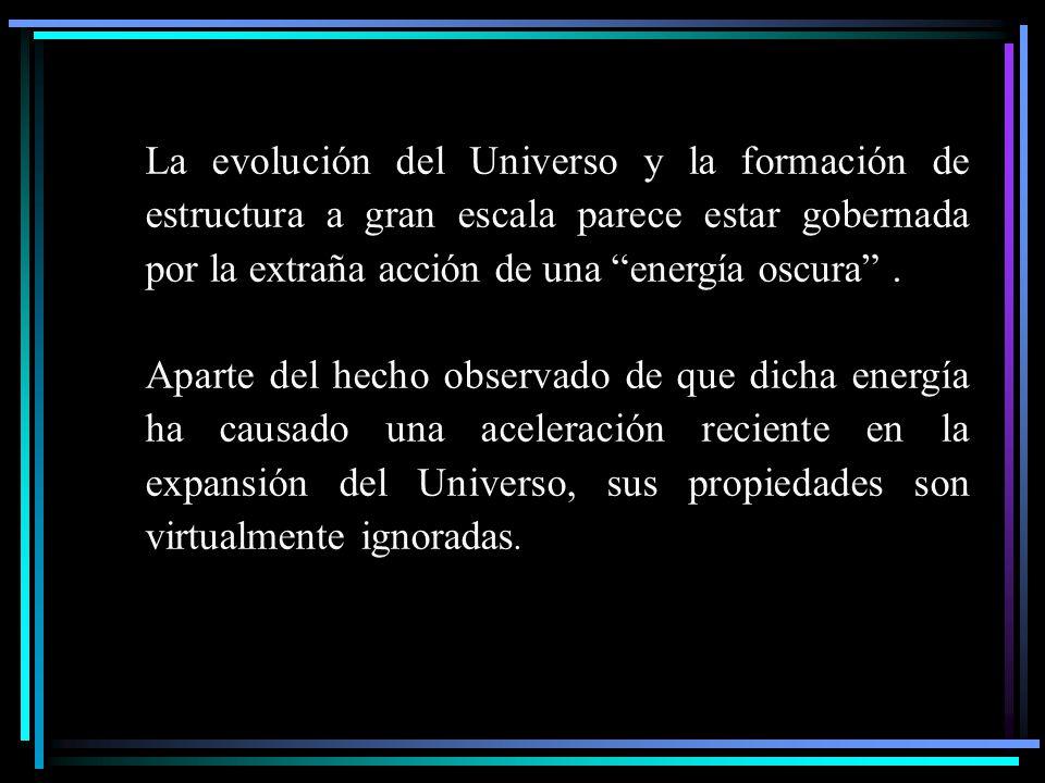 La evolución del Universo y la formación de estructura a gran escala parece estar gobernada por la extraña acción de una energía oscura .