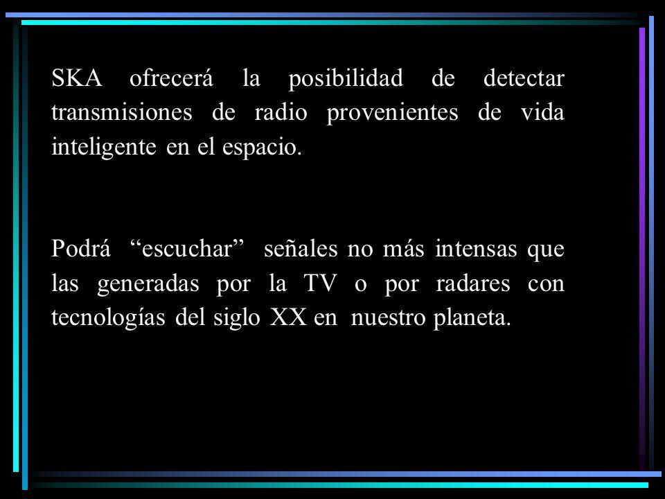 SKA ofrecerá la posibilidad de detectar transmisiones de radio provenientes de vida inteligente en el espacio.