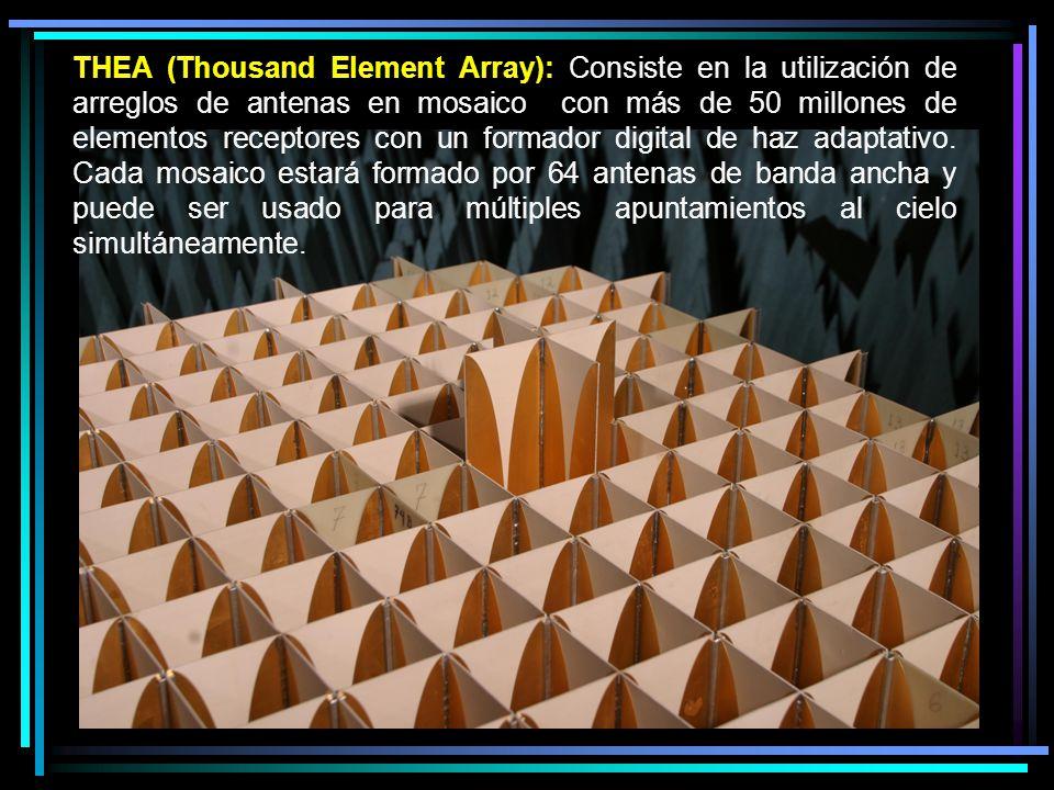 THEA (Thousand Element Array): Consiste en la utilización de arreglos de antenas en mosaico con más de 50 millones de elementos receptores con un formador digital de haz adaptativo.