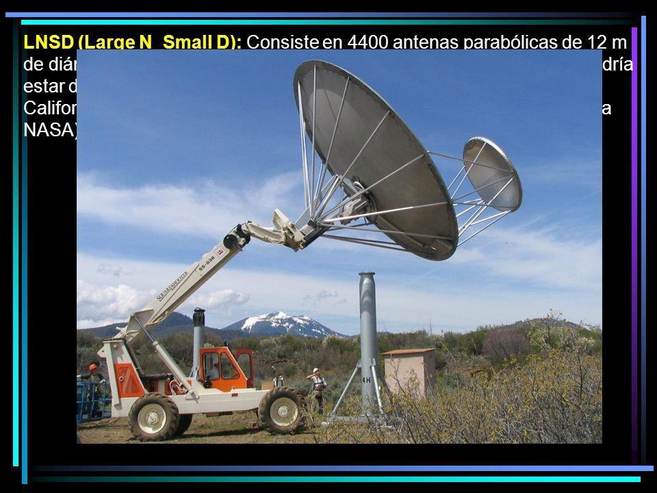 LNSD (Large N Small D): Consiste en 4400 antenas parabólicas de 12 m de diámetro con un alimentador secundario de 6 m de diámetro, que podría estar descentrado (como en el Allen Telescope Array desarrollado en California por el Instituto SETI ) o centrado (actualmente en estudio en la NASA).