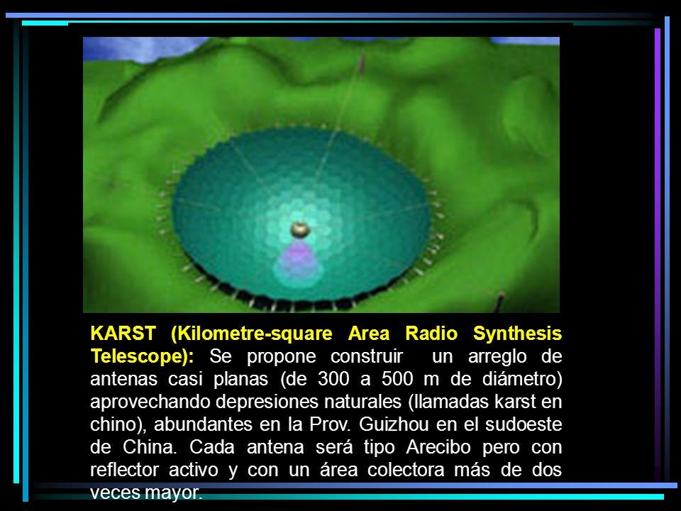 KARST (Kilometre-square Area Radio Synthesis Telescope): Se propone construir un arreglo de antenas casi planas (de 300 a 500 m de diámetro) aprovechando depresiones naturales (llamadas karst en chino), abundantes en la Prov.