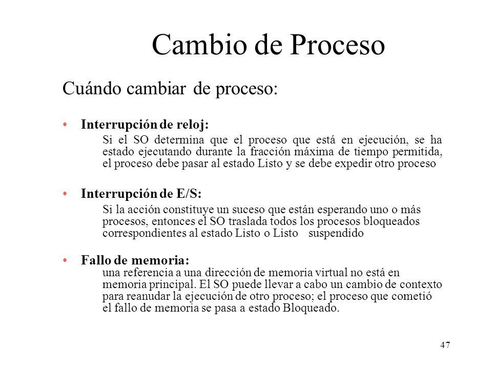 Cambio de Proceso Cuándo cambiar de proceso: Interrupción de reloj: