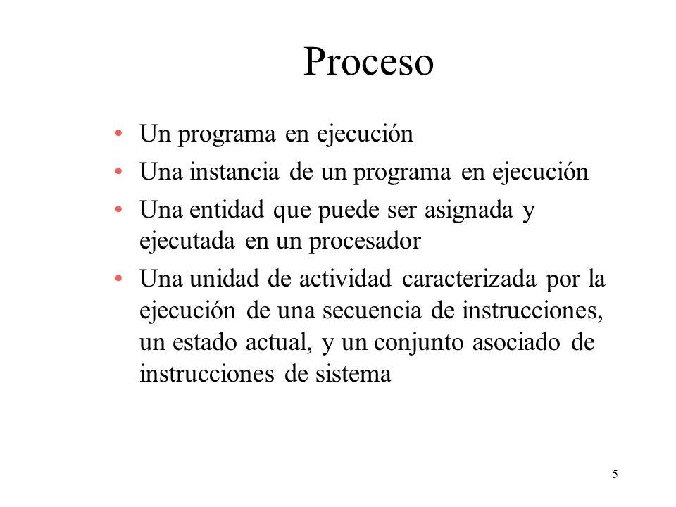 Proceso Un programa en ejecución