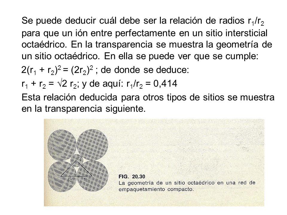 Se puede deducir cuál debe ser la relación de radios r1/r2 para que un ión entre perfectamente en un sitio intersticial octaédrico. En la transparencia se muestra la geometría de un sitio octaédrico. En ella se puede ver que se cumple: