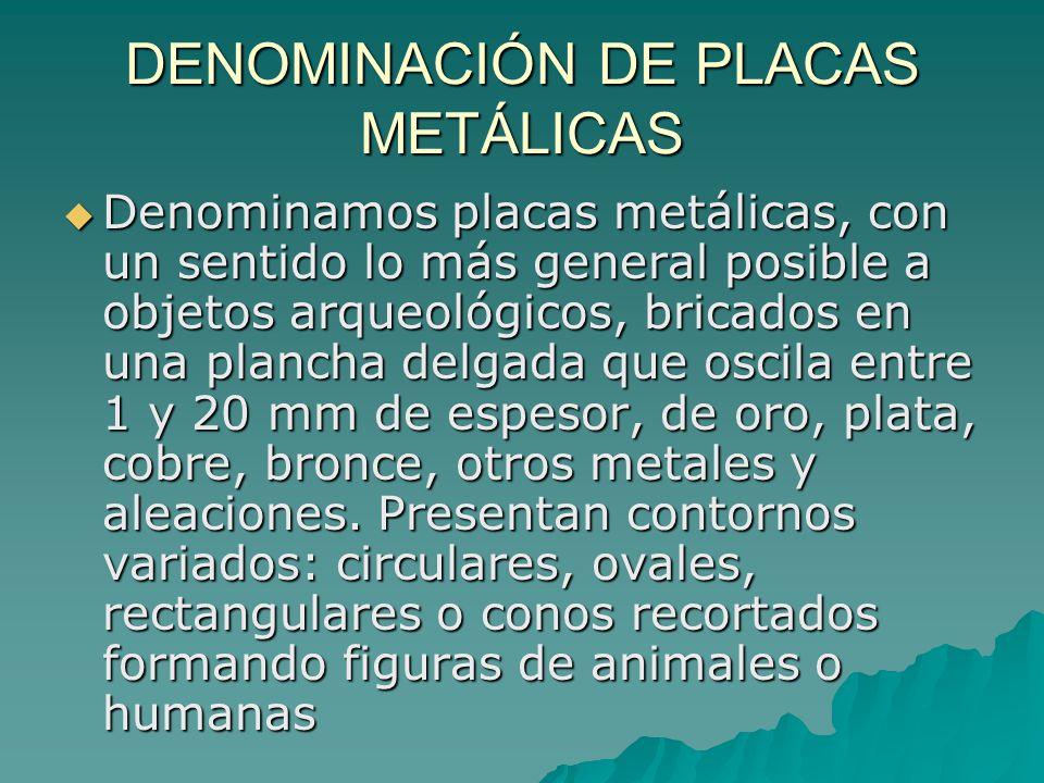 DENOMINACIÓN DE PLACAS METÁLICAS