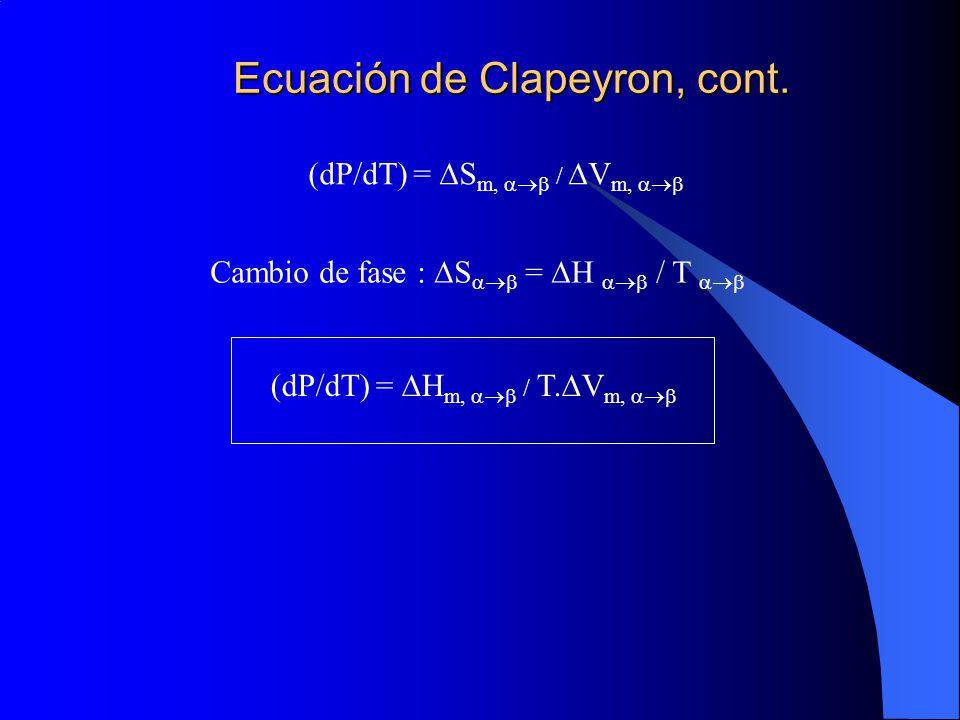 Ecuación de Clapeyron, cont.