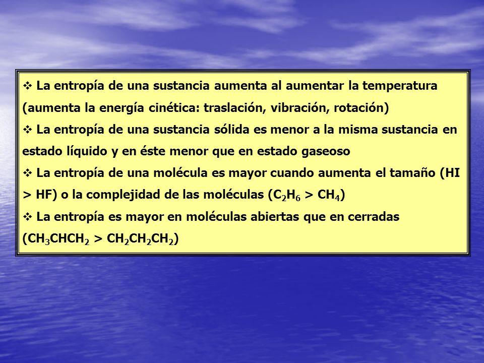 La entropía de una sustancia aumenta al aumentar la temperatura (aumenta la energía cinética: traslación, vibración, rotación)