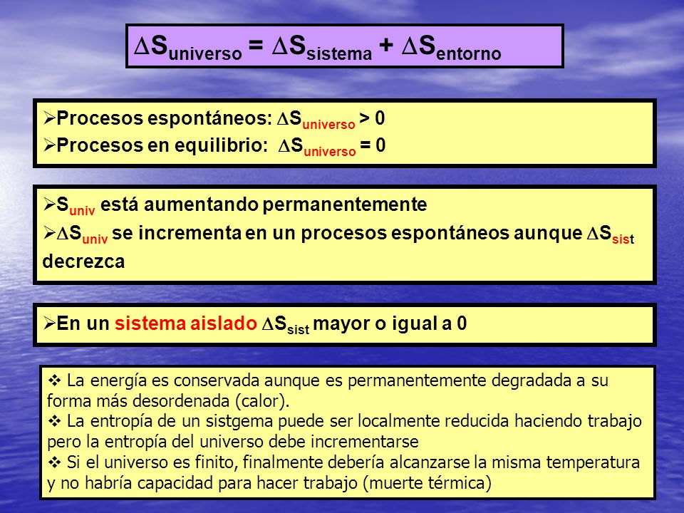 Suniverso = Ssistema + Sentorno