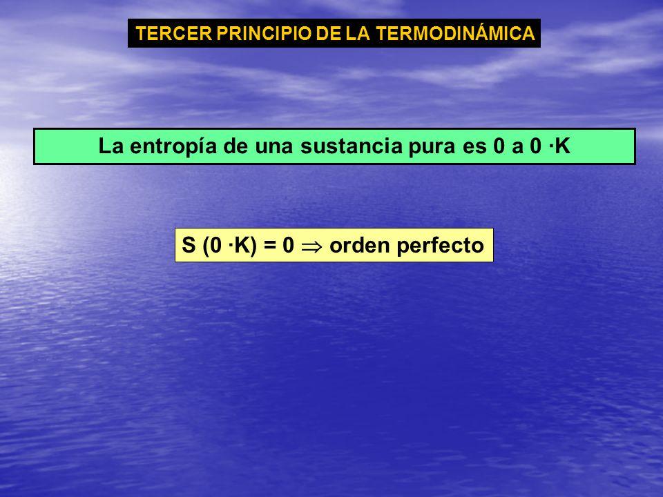 La entropía de una sustancia pura es 0 a 0 ·K