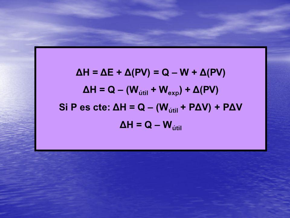 ΔH = ΔE + Δ(PV) = Q – W + Δ(PV) ΔH = Q – (Wútil + Wexp) + Δ(PV)