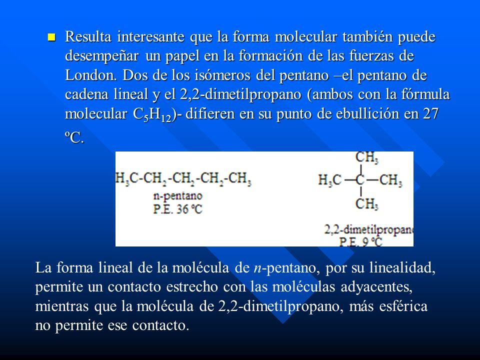Resulta interesante que la forma molecular también puede desempeñar un papel en la formación de las fuerzas de London. Dos de los isómeros del pentano –el pentano de cadena lineal y el 2,2-dimetilpropano (ambos con la fórmula molecular C5H12)- difieren en su punto de ebullición en 27 ºC.
