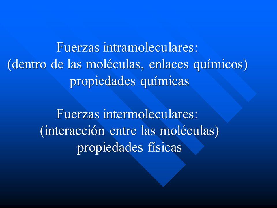 Fuerzas intramoleculares: (dentro de las moléculas, enlaces químicos)