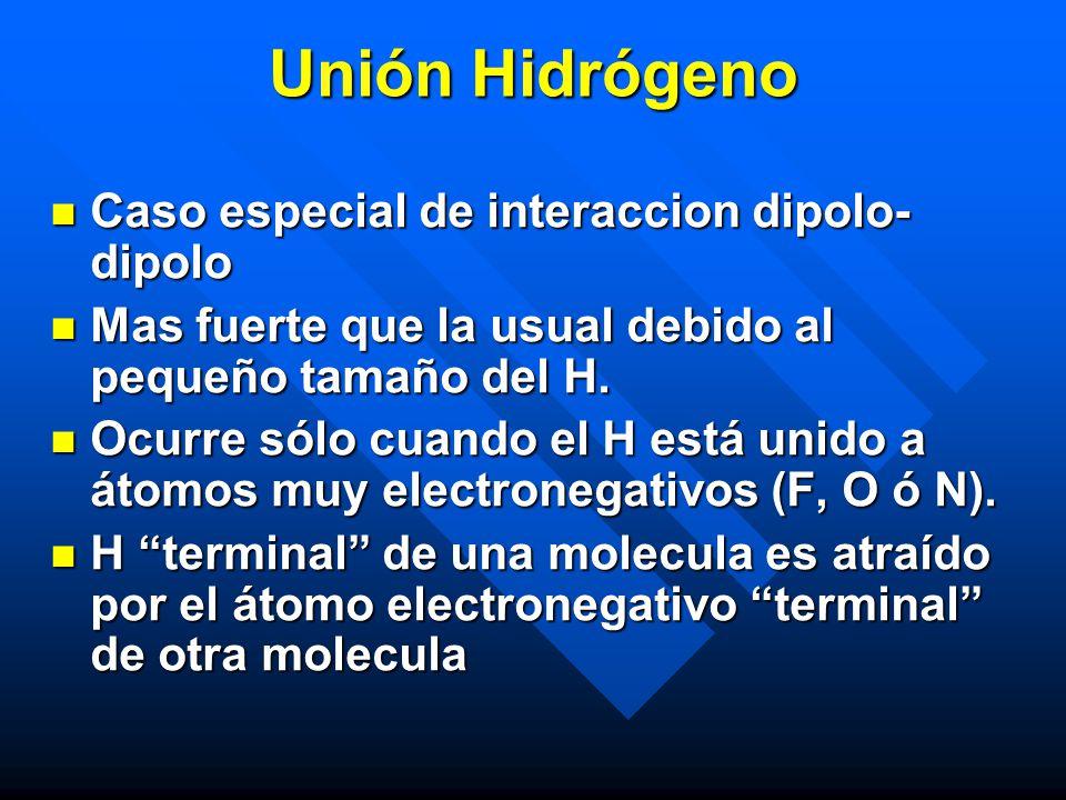 Unión Hidrógeno Caso especial de interaccion dipolo-dipolo