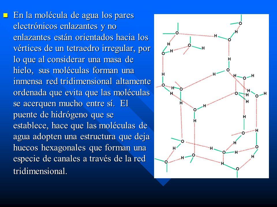 En la molécula de agua los pares electrónicos enlazantes y no enlazantes están orientados hacia los vértices de un tetraedro irregular, por lo que al considerar una masa de hielo, sus moléculas forman una inmensa red tridimensional altamente ordenada que evita que las moléculas se acerquen mucho entre sí. El puente de hidrógeno que se establece, hace que las moléculas de agua adopten una estructura que deja huecos hexagonales que forman una especie de canales a través de la red tridimensional.