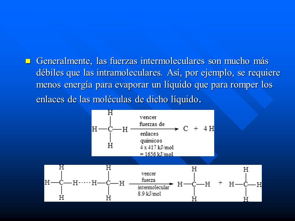 Generalmente, las fuerzas intermoleculares son mucho más débiles que las intramoleculares.