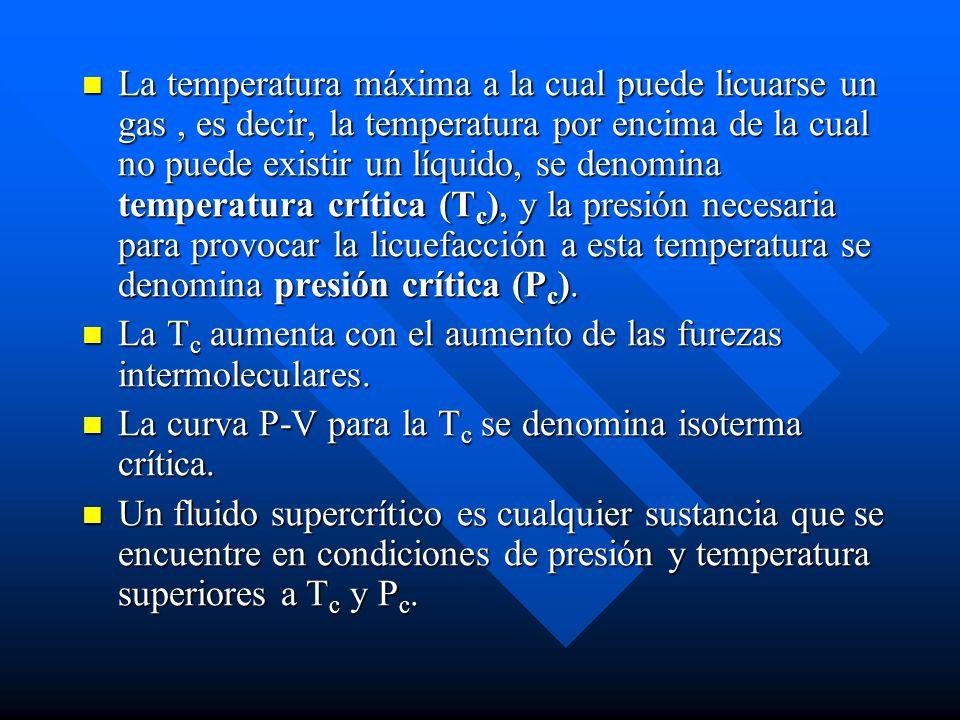 La temperatura máxima a la cual puede licuarse un gas , es decir, la temperatura por encima de la cual no puede existir un líquido, se denomina temperatura crítica (Tc), y la presión necesaria para provocar la licuefacción a esta temperatura se denomina presión crítica (Pc).
