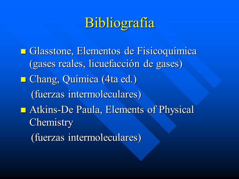 Bibliografía Glasstone, Elementos de Fisicoquímica (gases reales, licuefacción de gases) Chang, Química (4ta ed.)