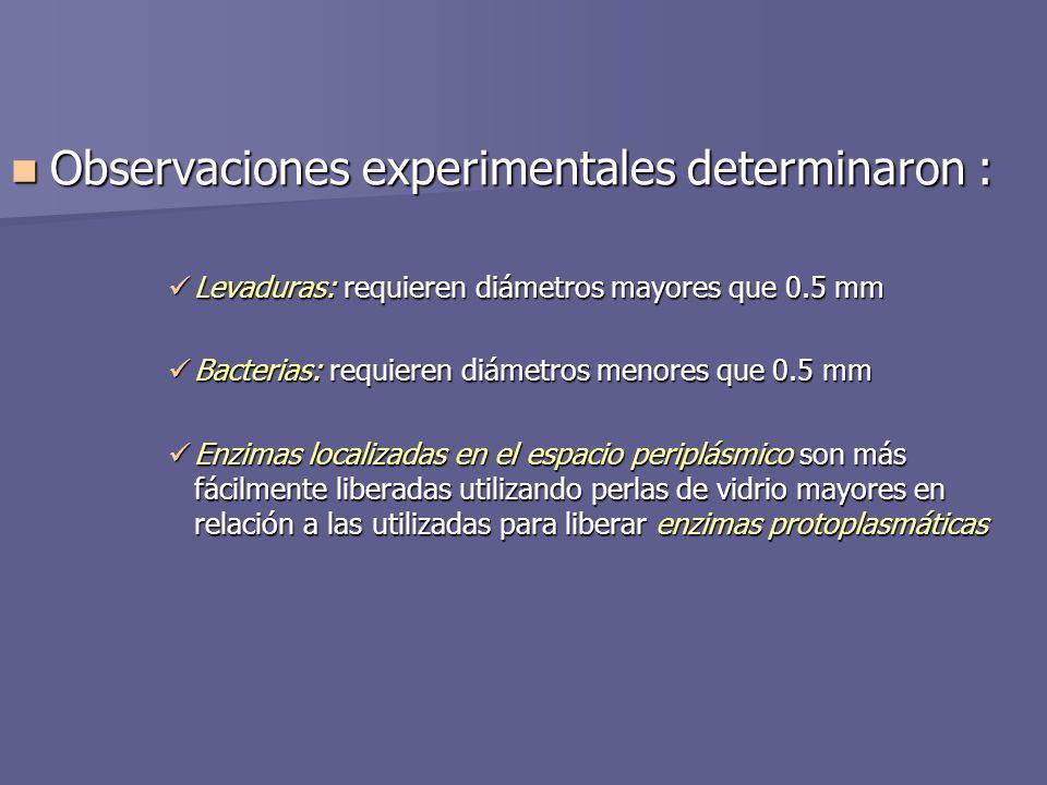 Observaciones experimentales determinaron :