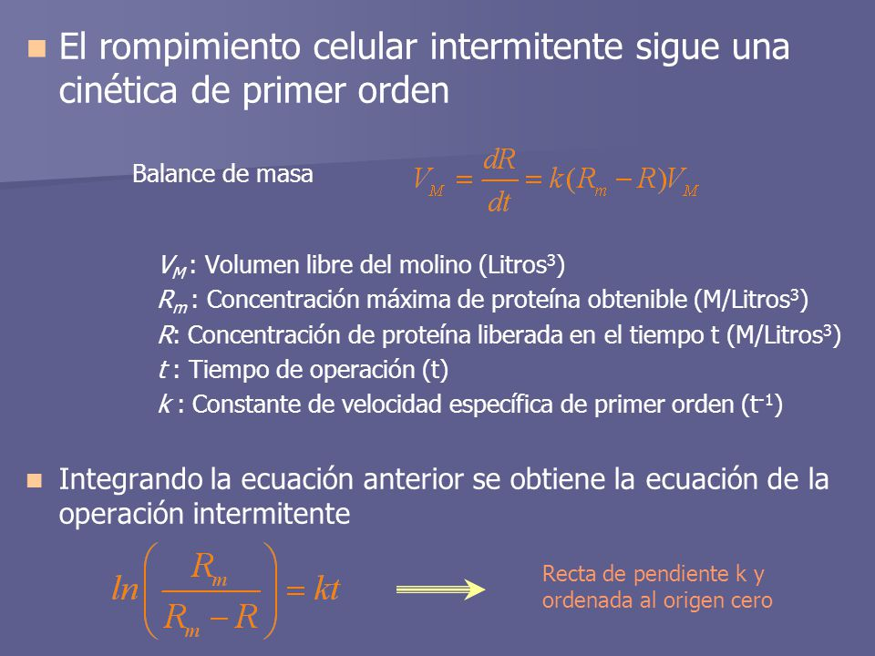 El rompimiento celular intermitente sigue una cinética de primer orden