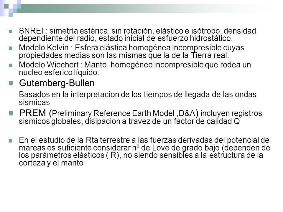 SNREI : simetría esférica, sin rotación, elástico e isótropo, densidad dependiente del radio, estado inicial de esfuerzo hidrostático.