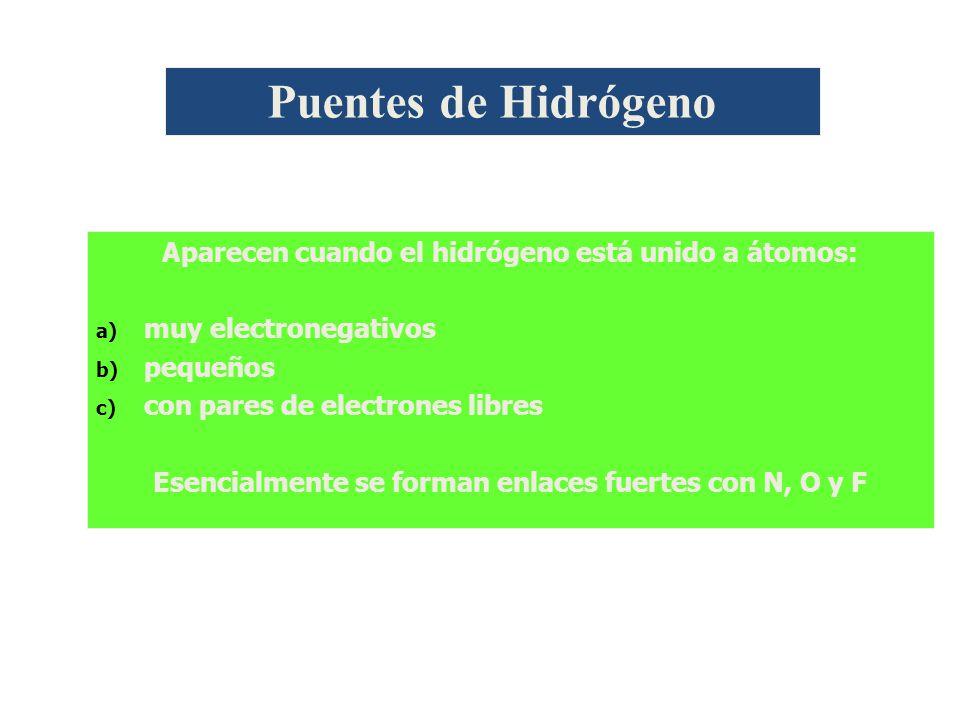 Puentes de Hidrógeno Aparecen cuando el hidrógeno está unido a átomos: