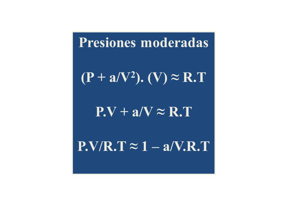 Presiones moderadas (P + a/V2). (V) ≈ R.T P.V + a/V ≈ R.T P.V/R.T ≈ 1 – a/V.R.T