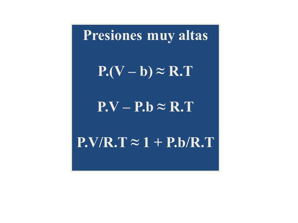 Presiones muy altas P.(V – b) ≈ R.T P.V – P.b ≈ R.T P.V/R.T ≈ 1 + P.b/R.T