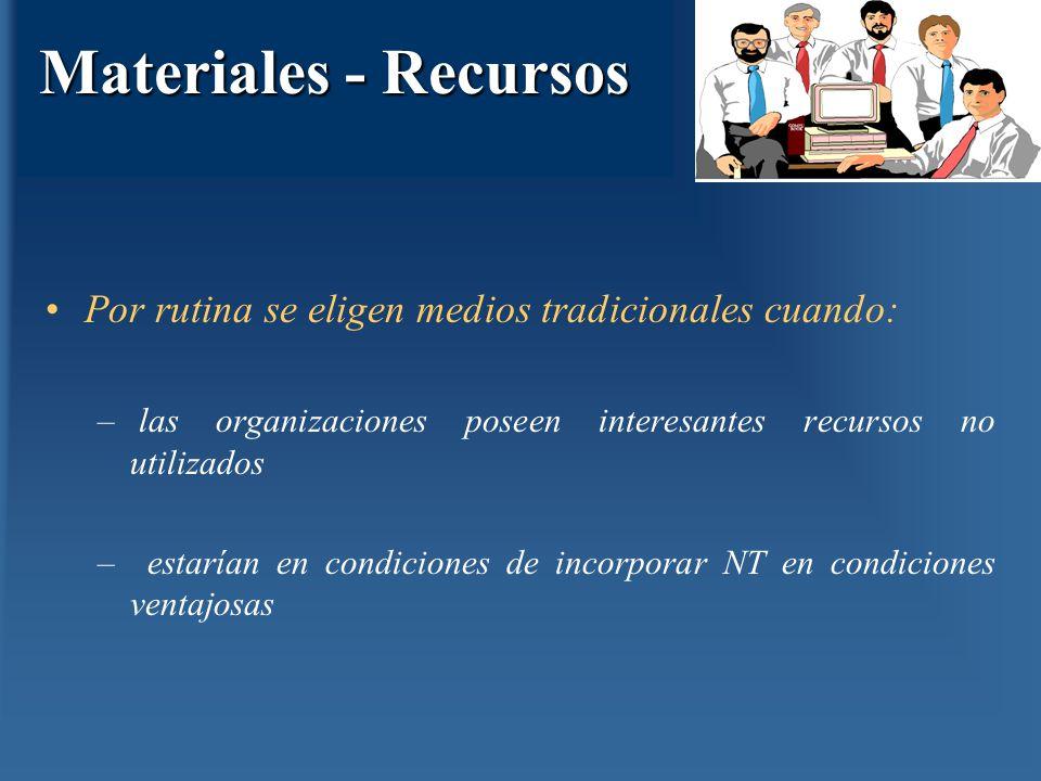 Materiales - Recursos Por rutina se eligen medios tradicionales cuando: las organizaciones poseen interesantes recursos no utilizados.