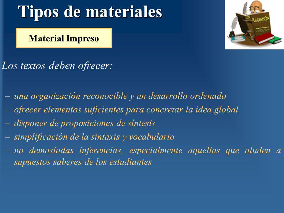Tipos de materiales Los textos deben ofrecer: Material Impreso