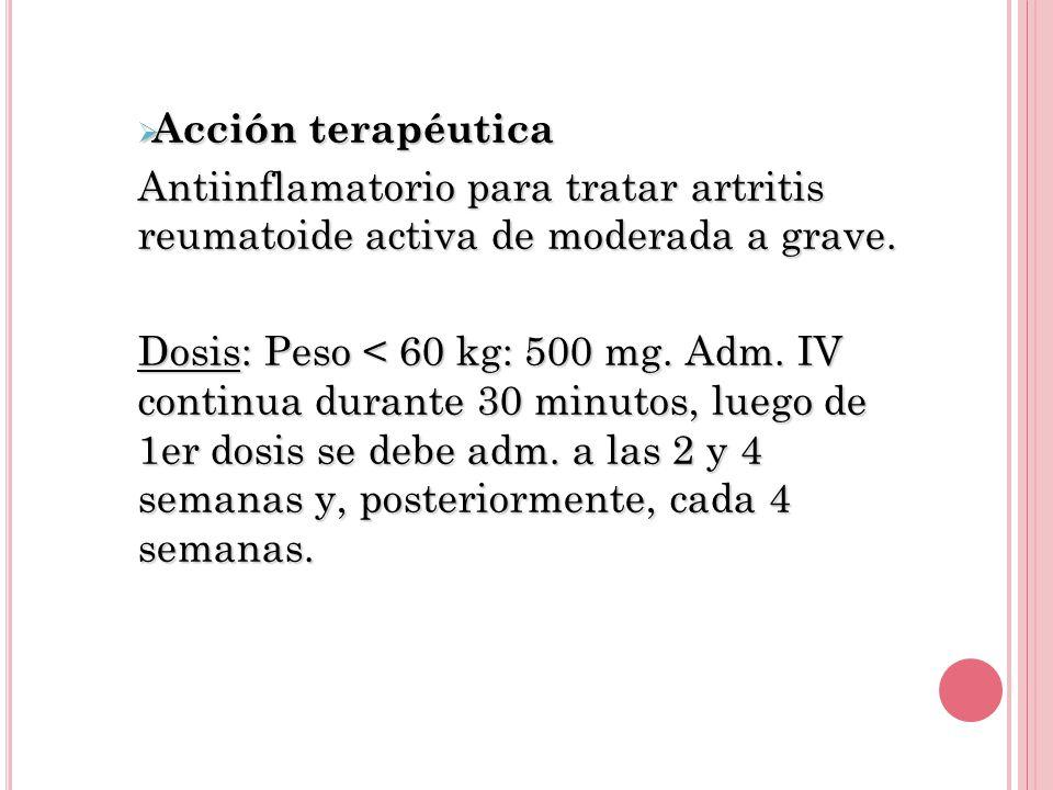 Acción terapéutica Antiinflamatorio para tratar artritis reumatoide activa de moderada a grave.