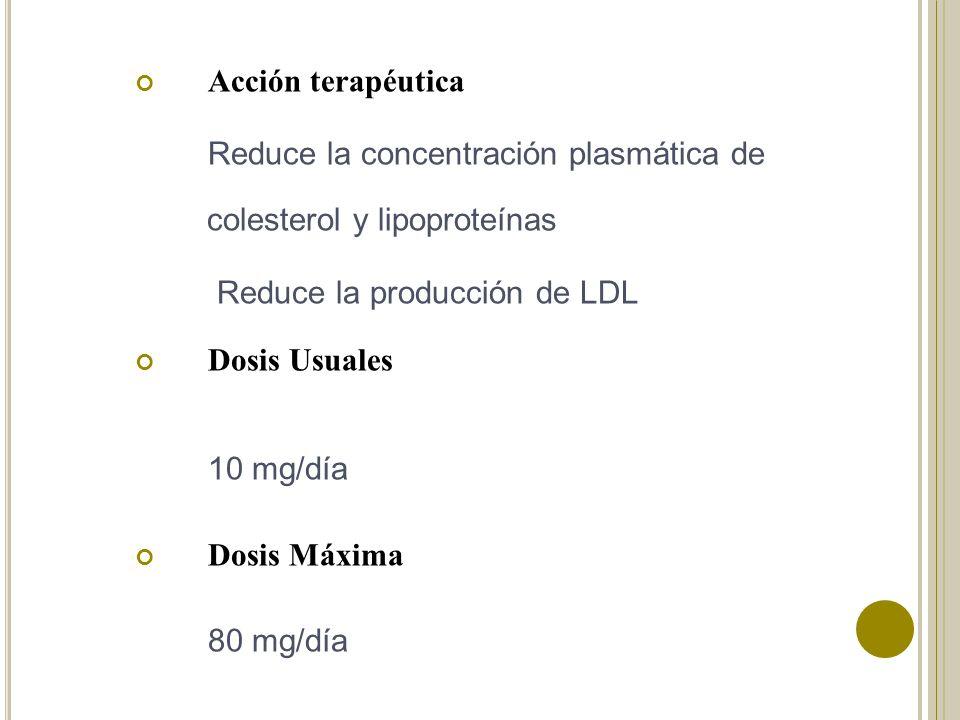 Acción terapéutica Reduce la concentración plasmática de colesterol y lipoproteínas. Reduce la producción de LDL.