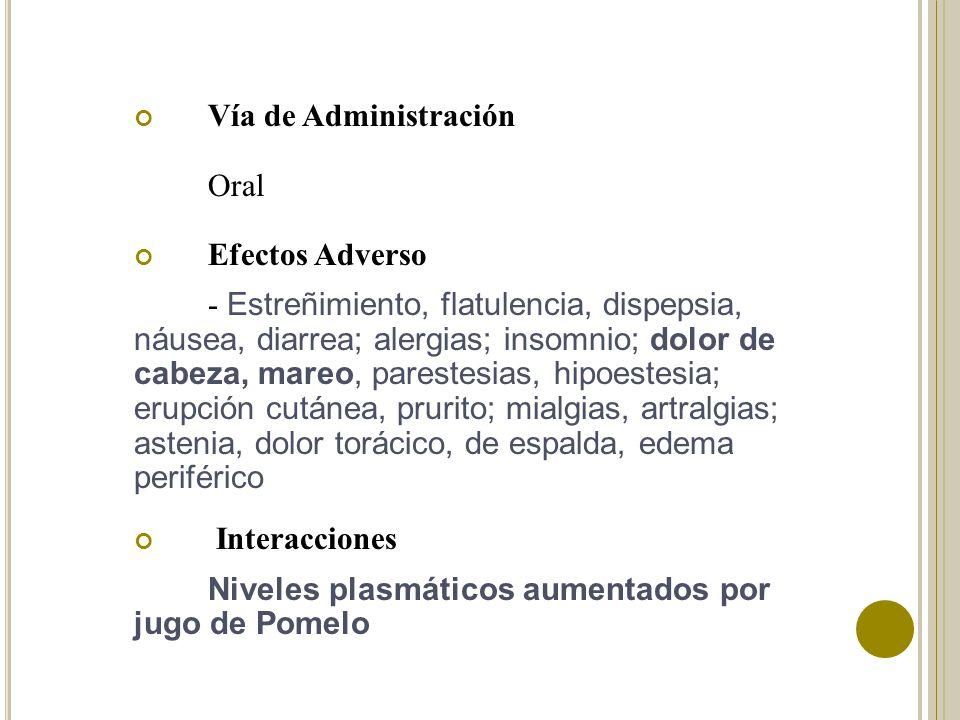 Vía de Administración Oral. Efectos Adverso.