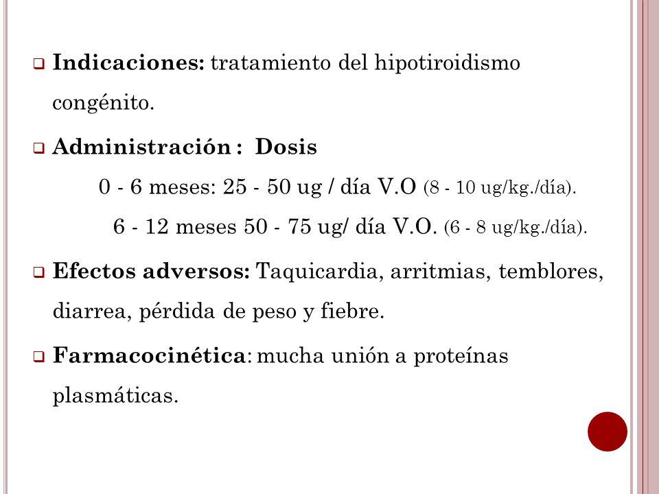 Indicaciones: tratamiento del hipotiroidismo congénito.